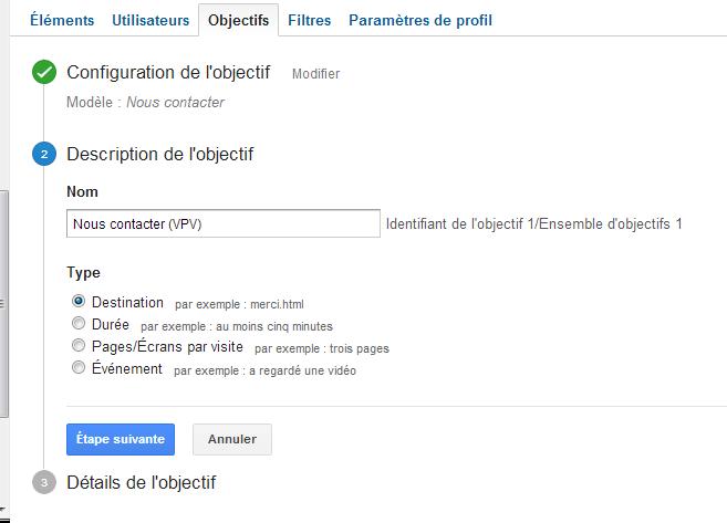 Etape 2 objectif Google Analytics