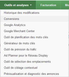 Google Adwords conversion Menu