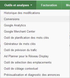 Google Adwords conversion Menu